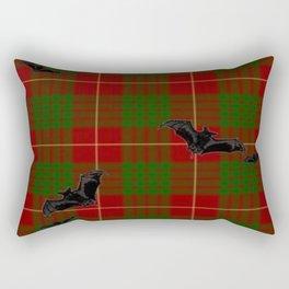 Scottish Tartan Pattern-Black Gothic Bats Art Design Rectangular Pillow