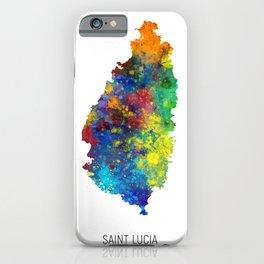 Saint Lucia Watercolor Map iPhone Case