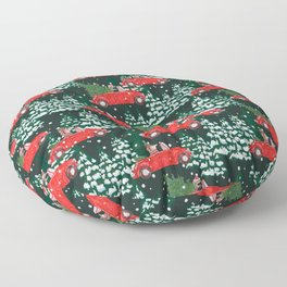 Dachshund Winter Car Racing in Forest Floor Pillow