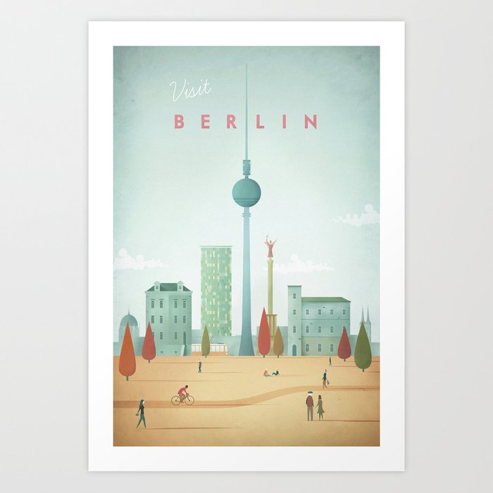 vintage berlin travel poster art print shopping guide