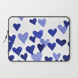 Valentine's Day Watercolor Hearts - blue Laptop Sleeve