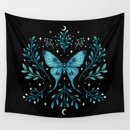Mystical Luna Moth - Turquoise Wall Tapestry