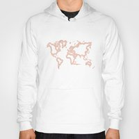 rose gold Hoodies featuring Rose Gold World Map by RsDesigns