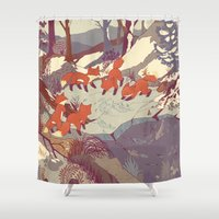 orange pattern Shower Curtains featuring Fisher Fox by Teagan White