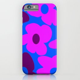 Large Pink and Purple Retro Flowers Blue Background #decor #society6 #buyart iPhone Case