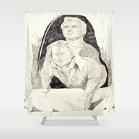 twin peaks Shower Curtains featuring Killer twin peaks by withapencilinhand