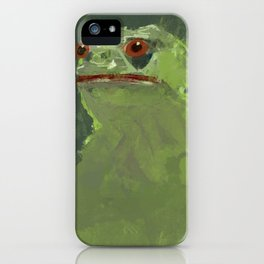 Frog simple illustration texture painting pepe iPhone Case
