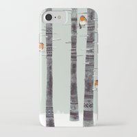 tree iPhone & iPod Cases featuring Robin Trees by Sandra Dieckmann