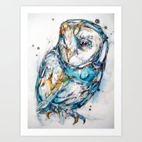 glass Art Prints featuring The Sea Glass Owl by Abby Diamond