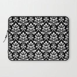 Feuille Damask Pattern White on Black Laptop Sleeve