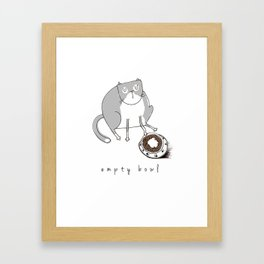 Cat-Empty Bowl Framed Art Print