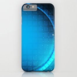 Technology blue circle abstract background iPhone Case