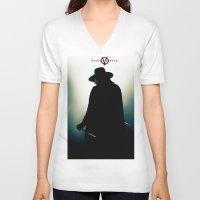 vendetta V-neck T-shirts featuring V for Vendetta (e4) by Ezgi Kaya