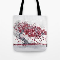 cherry blossom Tote Bags featuring Cherry blossom by Marine Loup