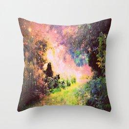 Fantasy Garden Path Deep Pastels Throw Pillow