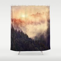grunge Shower Curtains featuring In My Other World by Tordis Kayma