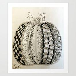 zentangle pumpkin Art Print