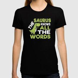 Thesaurus Knows All the Words Thesaurus Day Pun Dinosaur T-shirt