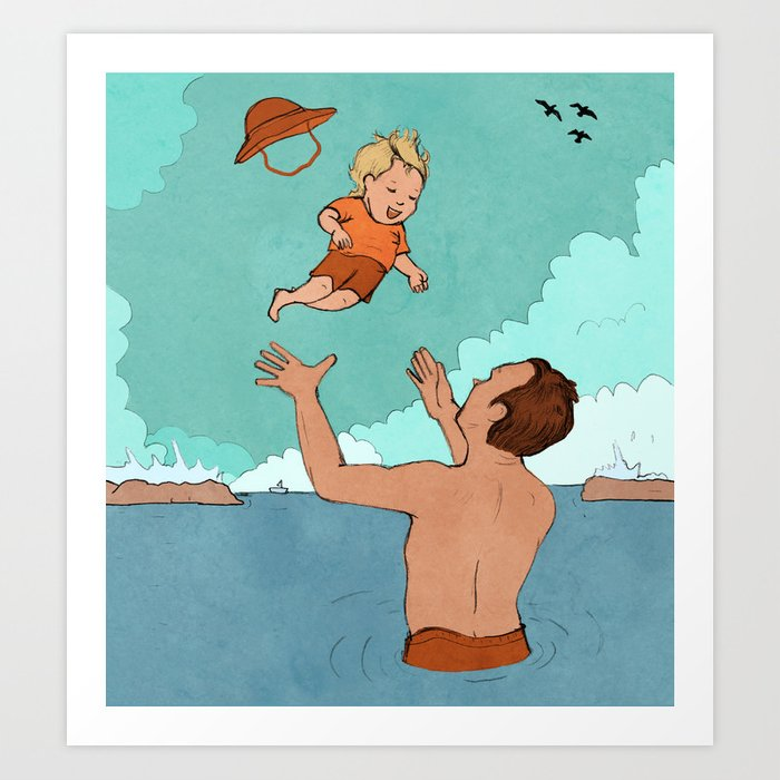 Father and Son at Sea Art Print