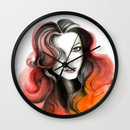 Red and Orange Flame Hair Wall Clock
