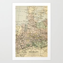 Old and Vintage Map of Germany Outline Art Print