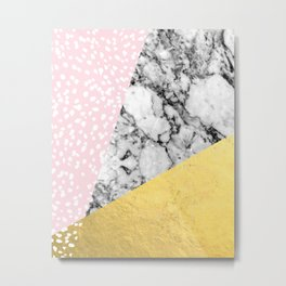 Trini - abstract painting texture gold pastel pink marble trendy hipster minimal art design bklyn  Metal Print