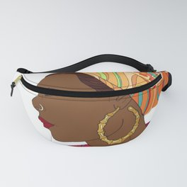 Black Woman/ White Background Fanny Pack