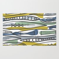 mid century Area & Throw Rugs featuring Mid-Century Shapes by patternjots