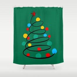 Christmas Tree Minimal Design Art Red Blue Green Shower Curtain