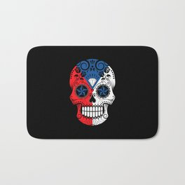 Sugar Skull with Roses and Flag of Czech Republic Bath Mat