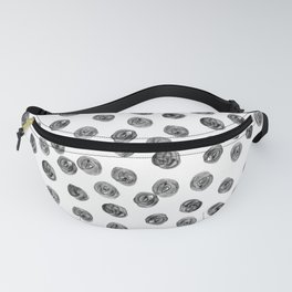 Hand painted black white watercolor brushstrokes polka dots Fanny Pack
