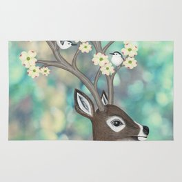 white tailed deer, white breasted nuthatches, & dogwood blossoms Rug