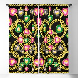 Fashion Pattern with Golden Chains and Jewelry Blackout Curtain