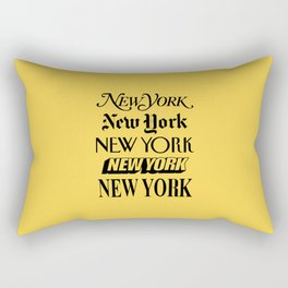 New York City Yellow Taxi and Black Typography Poster NYC Rectangular Pillow
