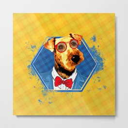 Hipster Airedale Terrier Metal Print