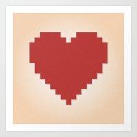 8bit Art Prints featuring 8bit Love by Matias Demti