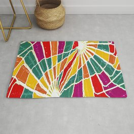Multicolored Vibrations Abstract Art Rug