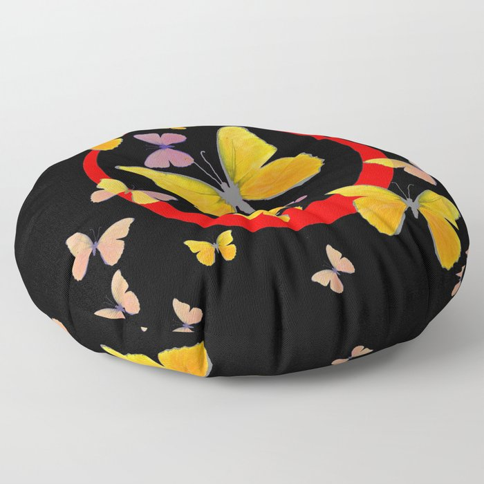 YELLOW BUTTERFLIES & RED RING  ABSTRACT ART Floor Pillow