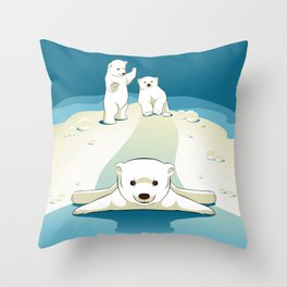 Polar bear cubs Throw Pillow