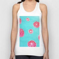 Pink flowers in blue Unisex Tank Top