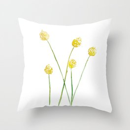 Yellow Billy Button Flowers Throw Pillow