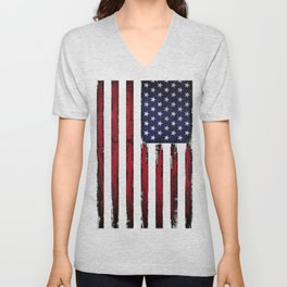 United states flag Black ink Unisex V-Neck