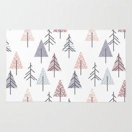Winter geometrical pink lilac geometric trees Rug