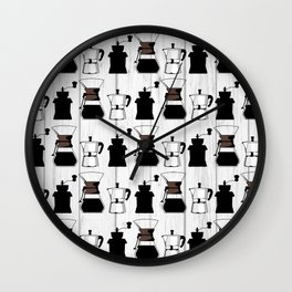 variety of classic, vintage, coffee,  grinder illustration Pattern print Wall Clock