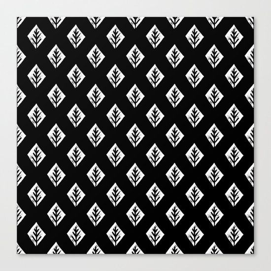 Linocut scandinavian minimal black and white trees camping pattern minimalist art Canvas Print