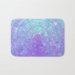 Mandala Flower in Light Blue and Purple Bath Mat