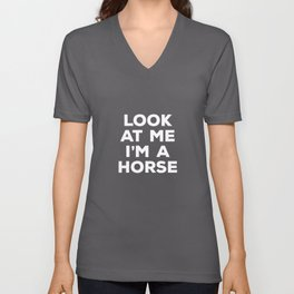 horse rider horse riding stable grey pony Unisex V-Neck