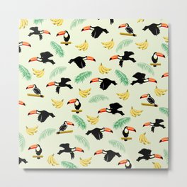 Toucan tropical pattern Metal Print