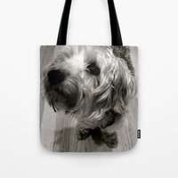 jake Tote Bags featuring Jake by Julia Blanchette