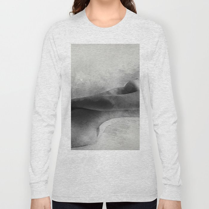 Time for Myself. Nude woman pencil and watercolor portrait Long Sleeve T-shirt
